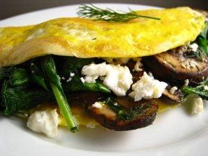 mushroom spinach feta omelet