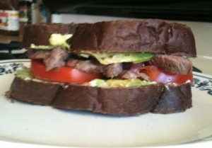 steak sandwich tomato avocado